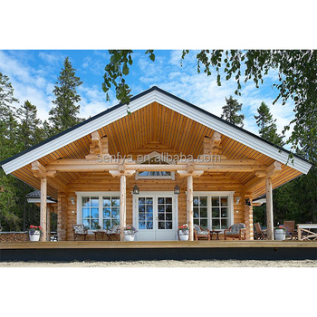 China manufacturer of 80 sqm wood prefab log cabin for leisure use