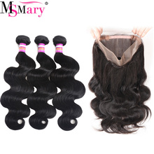 8A Per Plucked 360 Full Lace Frontal Closure With 2 Bundles Body Wave Brazilian Virgin Hair Natural Color 100% Remy Human Hair