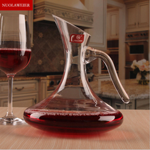 Mouth-Blown Clear Crystal Antique Magic Glass wine decanter with handle