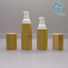 slim airless cosmetic pump bottle bamboo