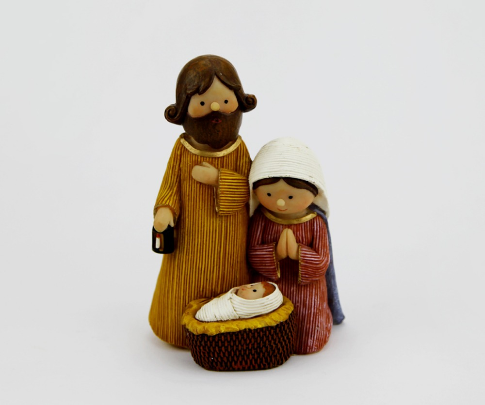Resin Holy Family St Joseph Virgin Mary Infant Jesus Statue,the Birth of Jesus Christian Faith Bible Cartoon Holy Figures