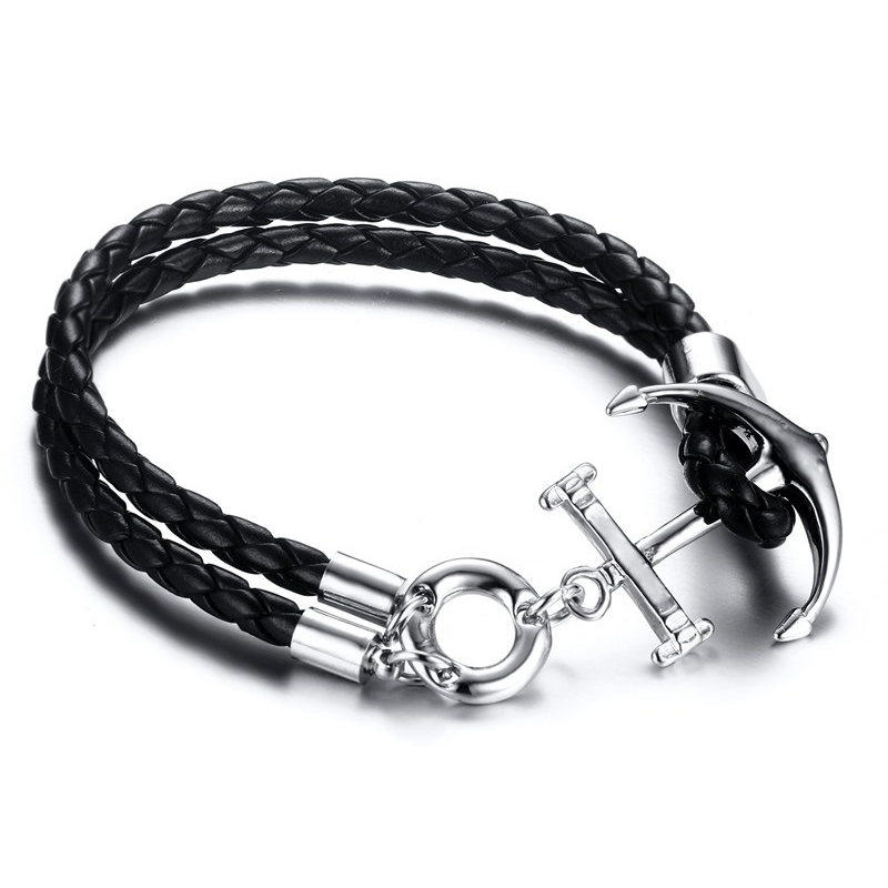 SJBL-226B Fashion High Quality Alloy Anchor True Leather Wrap Bracelet for men