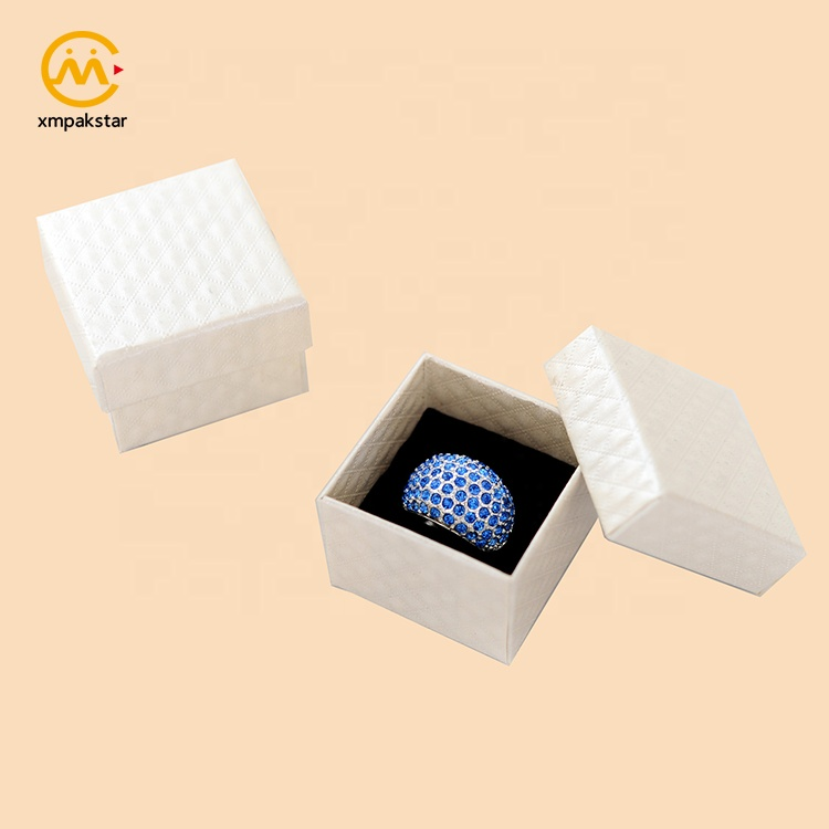 Custom logo printed mini white cardboard slide ring earring jewelry box with foam insert