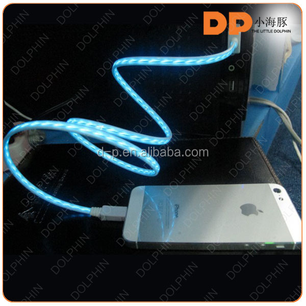 Fashion electronic el usb cable glowing line high quality best great price charger for iphone