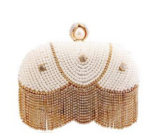 Europe new trend tassels pearl dinner clutch bags hot selling good quality lady dinner bags