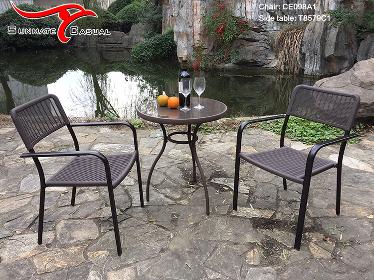 Modern Plastic Injection Molding Rattan Wicker Garden Furniture Outdoor Bar Terrace Table and Chairs Set