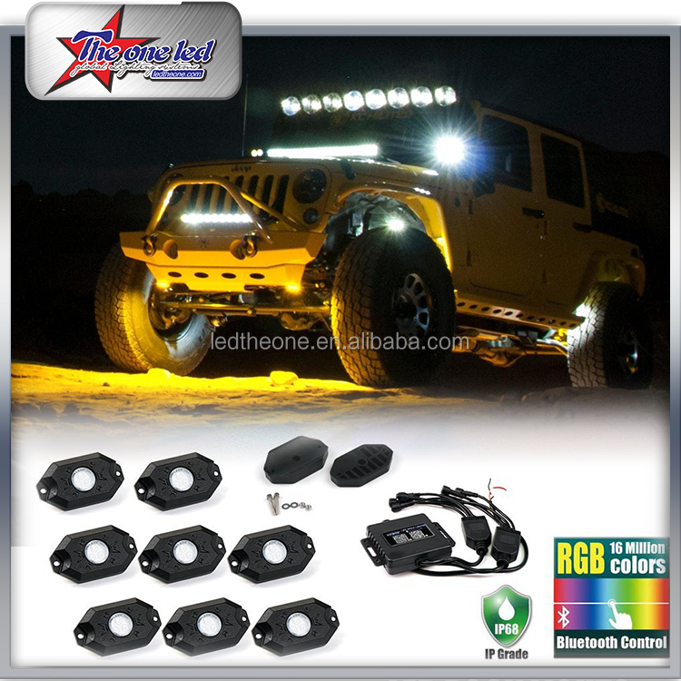 Factory Direct!! Jeep wrangler Accessories 12V 4/6/8/12 Packs/Pods RGB Multi-Color off road Led rock lights undercar light