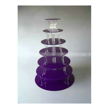 7 tiers Acrylic Cupcake Stand In purple Lucite Purple Cup Cake Stands