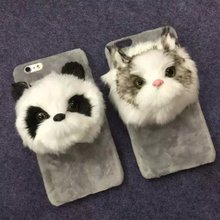 Hot sale Personality Three Dimensional Lovely Panda Felt Soft phone case for iphone 8 7 6 6s plus