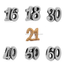 Antique silver custom numbers charm zinc alloy sliding charm for bracelet jewelry wholesale