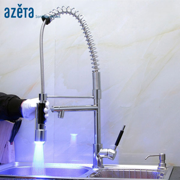 Spring Design Brass Spray Out LED Light Kitchen Faucet NO.MK9844LD