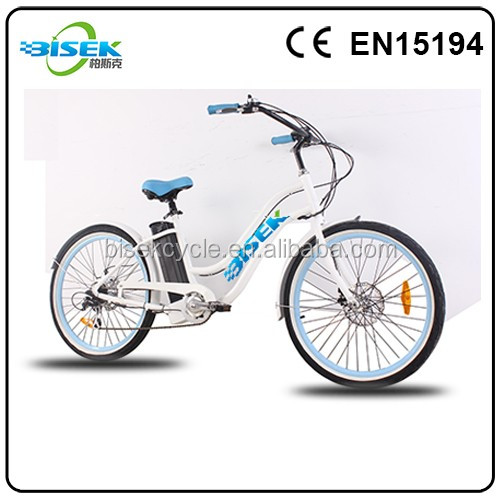 Cheap beach cruiser electric bicycle pedelec ebike for Women with bafang motor