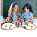 New design kids 55 pieces wooden toy train tracks