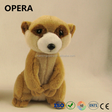 popular fashion soft safe material standing brown meerkat plush toy