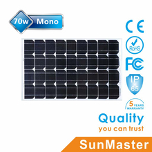 Best quality high effiency cheap price 70W 12v solar panel with CE TUV ISO UL