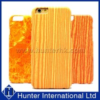 Attractive Pu Leather For iPhone 6 Wood PC Case