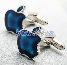 Exquisite men blue apple-shaped cufflink with brand elements cufflink for promotion