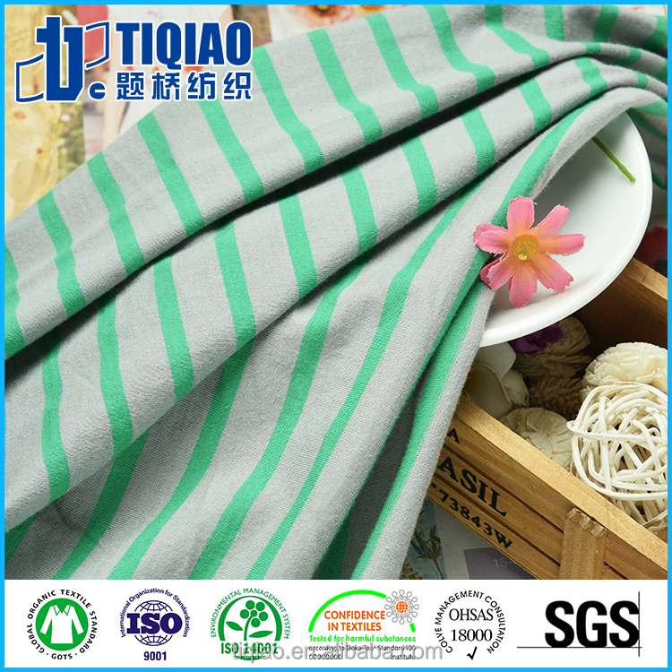 SGS striped 28S/1 combed cotton Oeko-Tex Standard single Jersey