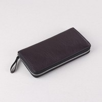 Men Genuine Leather Long Wallet Cowhide Zipper Clutch Money Purse Card Holder