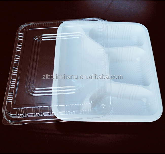 Disposable four compartment takeway food container lunch tray