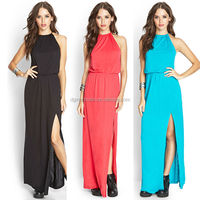 Halter neck with knotted self-tie straps knit different designs fashionable long dresses