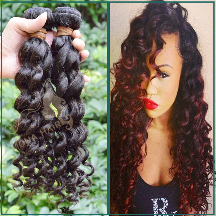 Real human hair on sale 7a grade double weft no smell deep wave style celebrity peruvian virgin hair weave