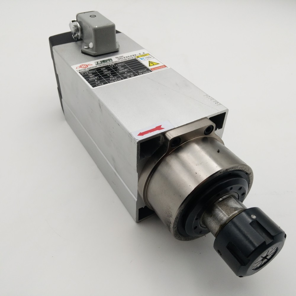 10A 300Hz 18000rpm 2.2kw Square Spindle Motor ER25 220V Air Cool GDZ93x82-2.2-220V + 3.7kw Spindle Inverter for CNC Woodworking