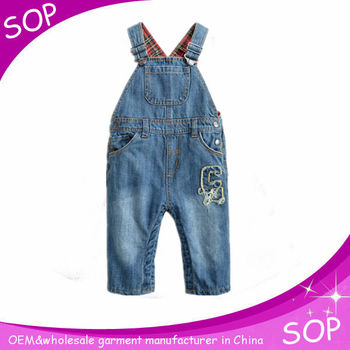 Euramerican stylish denim jumpsuit girls baby rompers overalls cotton