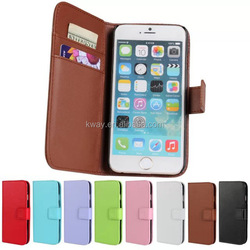 Wholesale price Plain pattern wallet case for S6 Samsung Galaxy S6 IPHONE 6 with card slots