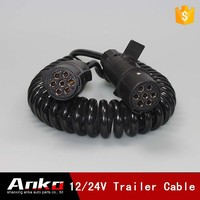 European Australia 7 core spiral cable 24v, 7 pin coiled cable, 7 pin electric coil cable