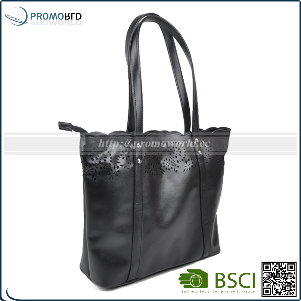 black pu leather women shoulder bag