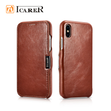 ICARER Vintage Series Genuine Leather Flip Mobile Phone Case for iPhone 8