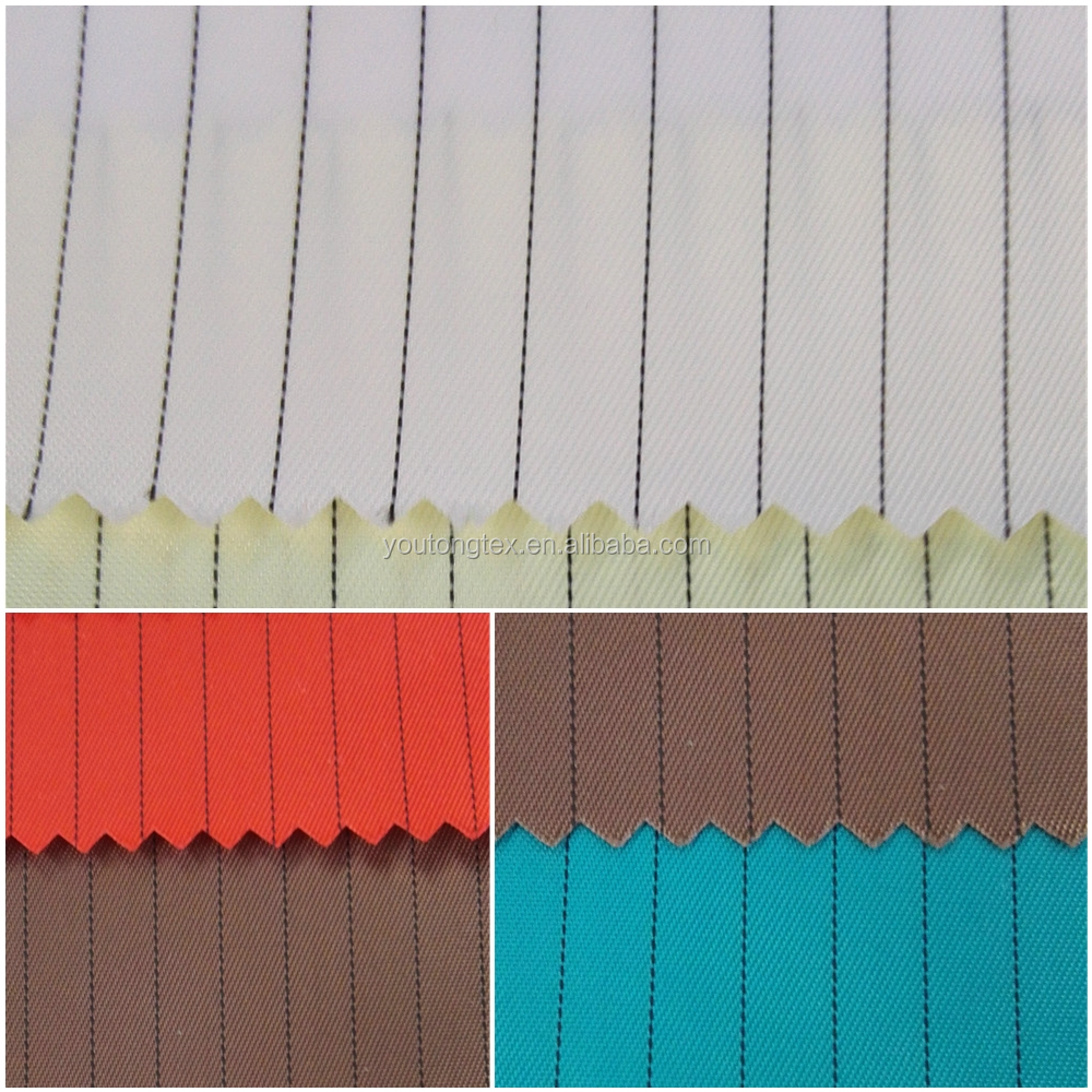 98% polyester and 2% carbon filament stripe anti staitc fabric