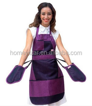 Quality customized brand cooking apron + glove sets