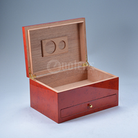 Red Rustic Burl High Wooden Humidor