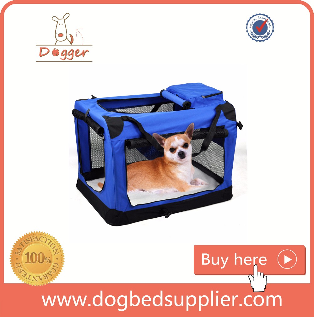 Collapsible Crate Pet Dogs Cats Carrier Travel red/blue Folding Pad Bag Comfortable