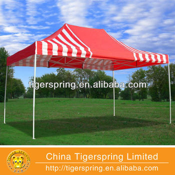 Red Stripe 10'x15' Pop up Tent with 4 sidewalls F Model - 2013 Upgraded New Frame
