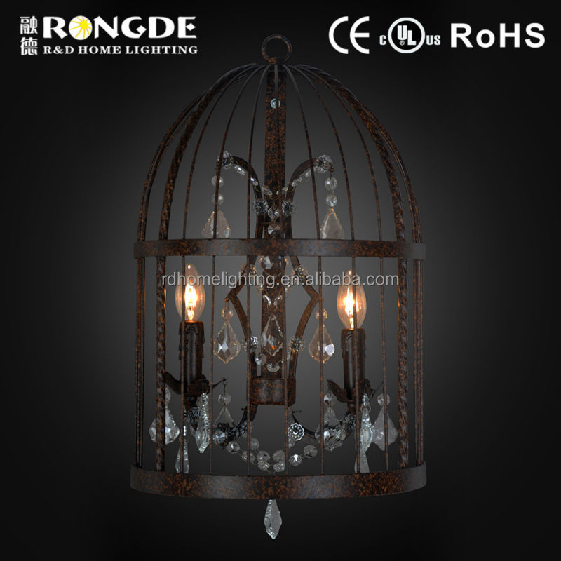 Coffee house decorative birdcage wall light