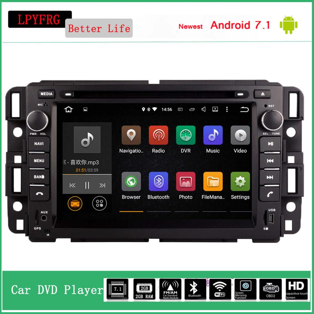 newest android 7.1 car dvd player for gmc yukon 2007 2012 with gps navi system audio video av built in 3g network