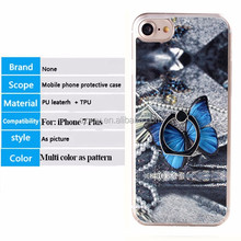 3D custom printing PU leather hard PC metal ring stand cell phone case for iphone 6 7 7 plus