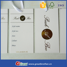 Paper & Paperboard Product Material and Offset Printing Printing Type custom printed jewelry hang tags