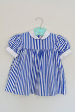Latest dress designs blue stripe casual childrens dress