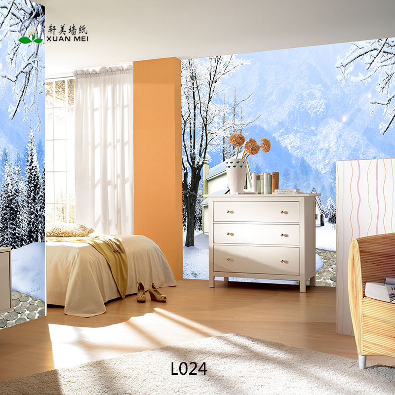High Quality 3D Printed Mural Beautiful Snow Landscape Wallpaper