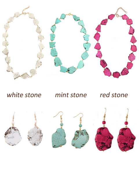 Raw Geometric Turquoise Marble Chunky Necklaces and Earring Set