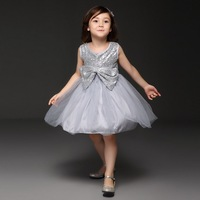 Pettigirl Gray Sequins Tulle Girls Dresses Decorate With Big Bow Girl Party Dress Pretty Child Wear GD50414-14