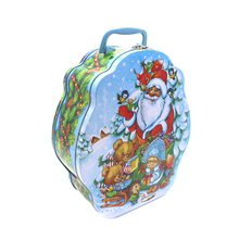 China Supplier Custom Design Christmas Gift Candy Tin Packaging Box with Plastic Handle