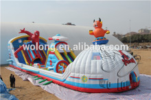 giant adult inflatable slide, inflatable bouncer with big slide for sale