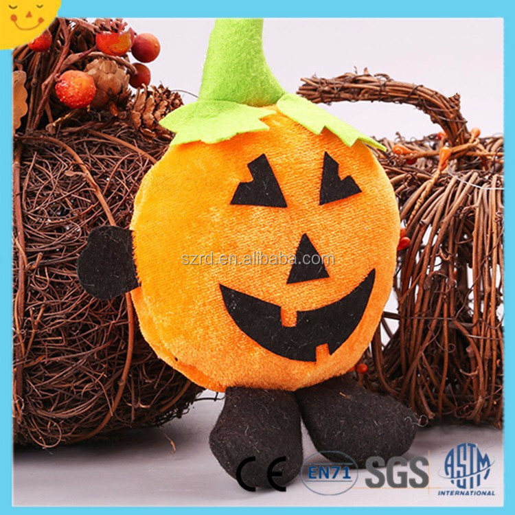 Wholesale halloween scary surprise plush doll gift lovely yellow big fat body little devil with hat plush toy for boy