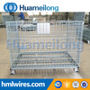 Durable stacking steel box wire mesh storage cage container with plate