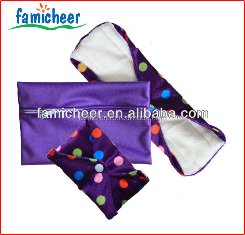 Famicheer reusable super absorbent bamboo women sanitary cloth napkin pads